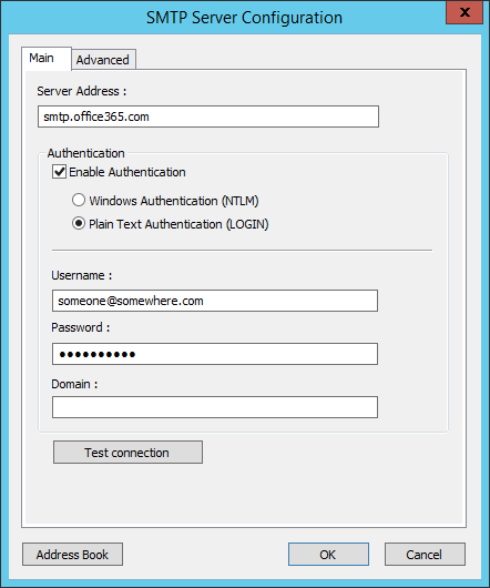 Using Office 365 SMTP hosted services in conjunction with TaskCentre