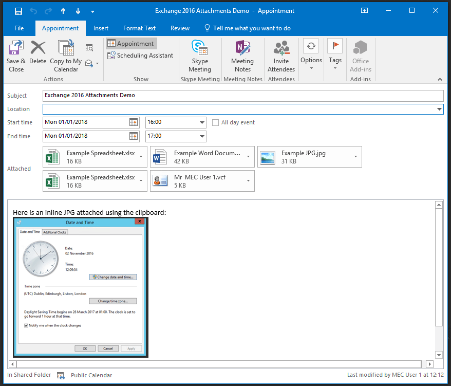 Microsoft Exchange Connector Tool - Retrieving attachments in calendar items