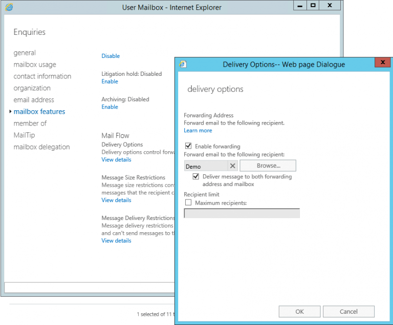 Forward Mail to the Email Trigger (SMTP) Agent - Exchange 2016