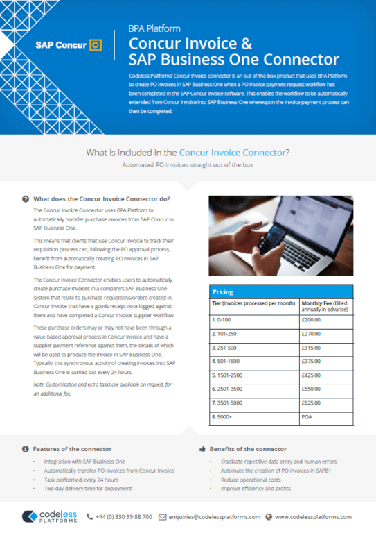 Concur Invoice Connector for SAP Business One