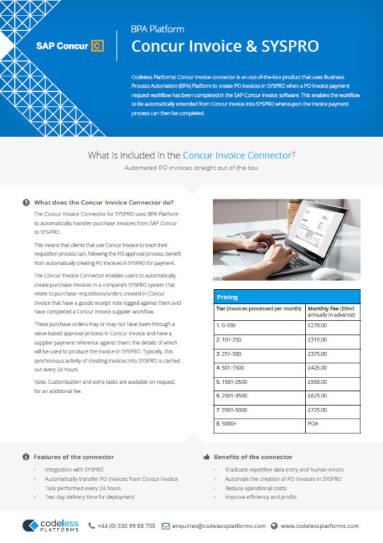 Concur Invoice Connector for SYSPRO