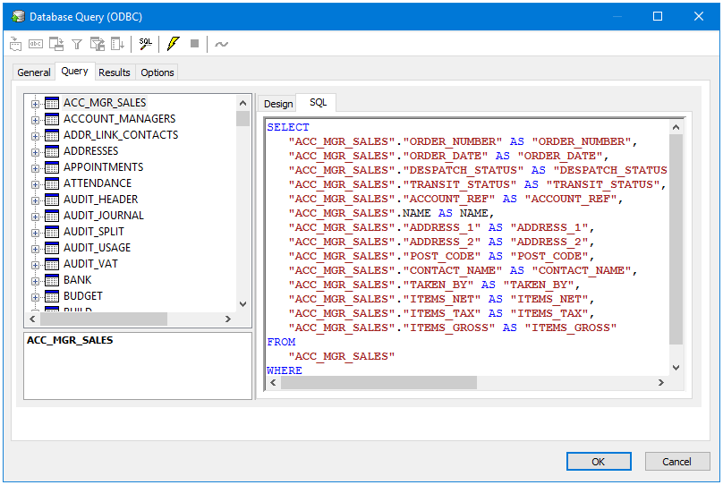 ODBC query tool